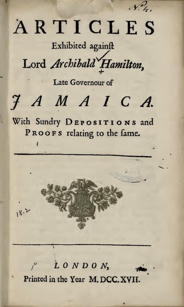 Articles Exhibited Against Archibald Hamilton (1717)