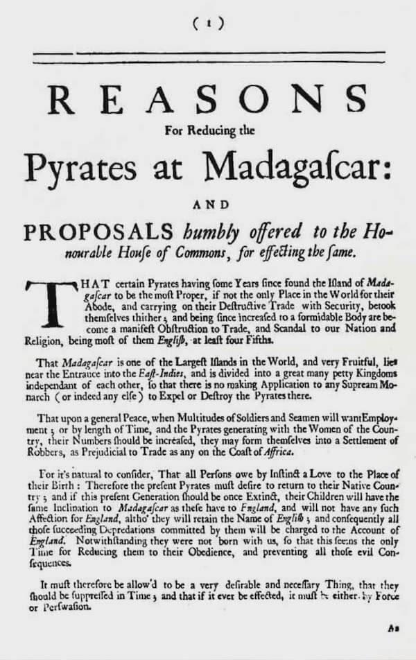 Reasons for Reducing Pyrates at Madagascar (1705)