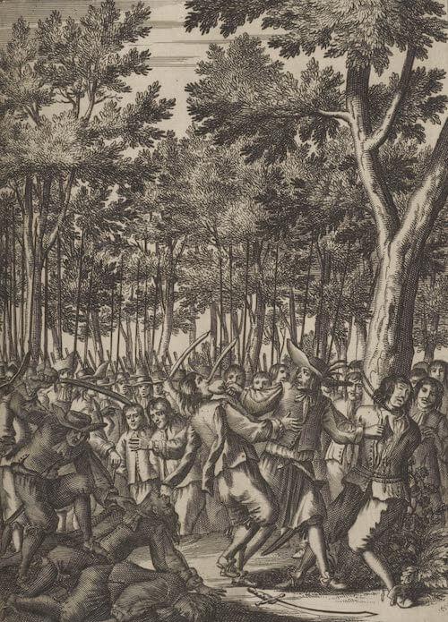 L'Ollonais Murdering Spanish - De Americaensche zee Roovers (1678)