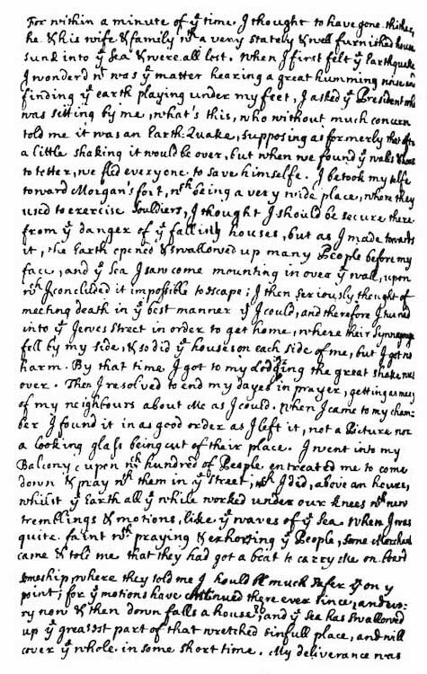 Port Royal Earthquake (1692) - Edmund Heaths Earthquake Account Page 2 (1692)