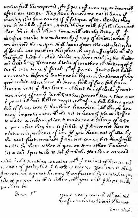 Port Royal Earthquake (1692) - Edmund Heaths Earthquake Account Page 3 (1692)