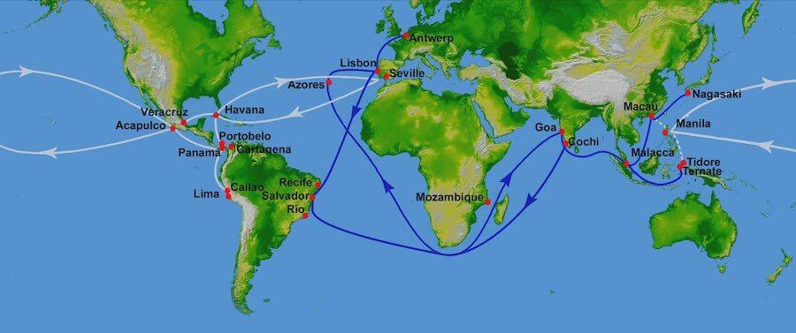 Portuguese (white) and Spanish (blue) Treasure Fleet Routes