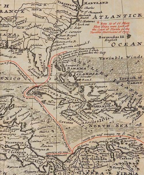 1715 Treasure Fleet Map - Herman Moll