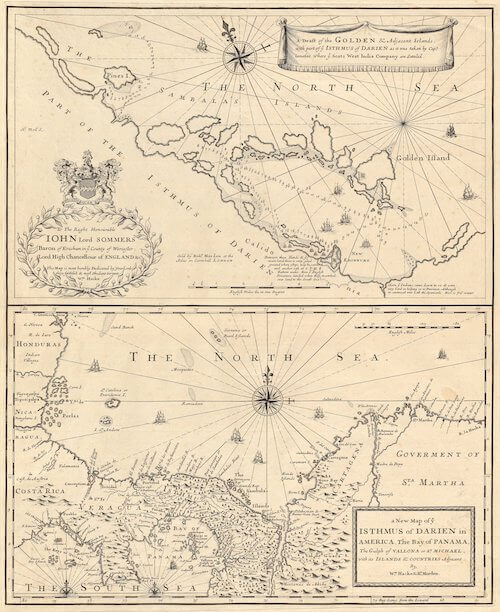 A Draft of the Golden and Adjacent Islands with Part of ye Isthmus of Darien - Herman Moll (1699)
