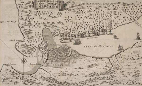 Maracaibo and Gibraltar Map - De Americaensche Zee Roovers (1678)