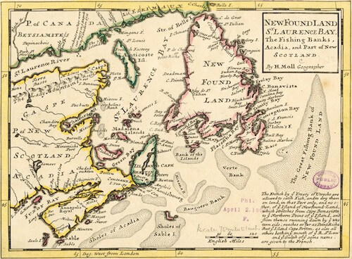 New Found Land and St. Laurence Bay - Herman Moll (1732)