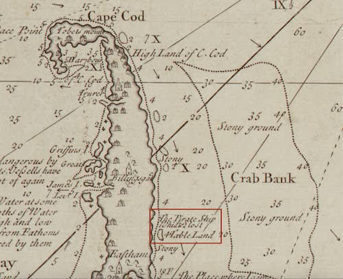 Whydah Shipwreck Map - Cyprian Southack (1734)