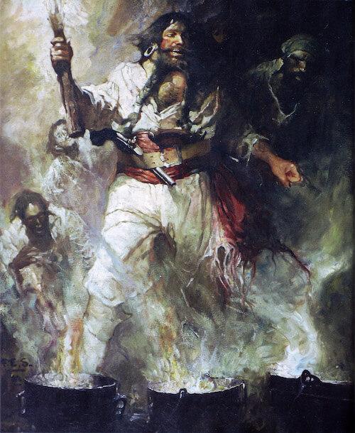 Blackbeard in Smoke and Flame - Frank Schoonover (1922)