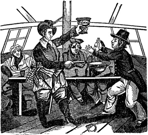 Edward Low Presenting Pistol and Drink - Pirates Own Book (1837)